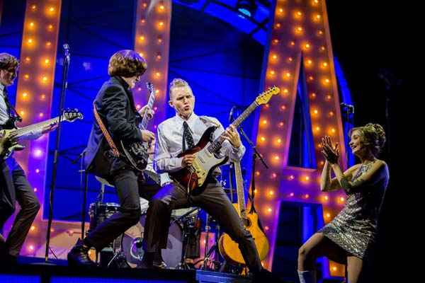 (Left to right) Christopher Weeks, Alex Harford, Jay Osbourne, Gemma Brodrick-Bower (Pauline) in Cilla The Musical which is set to play Cardiff;s New Theatre. Photo By Matt Martin