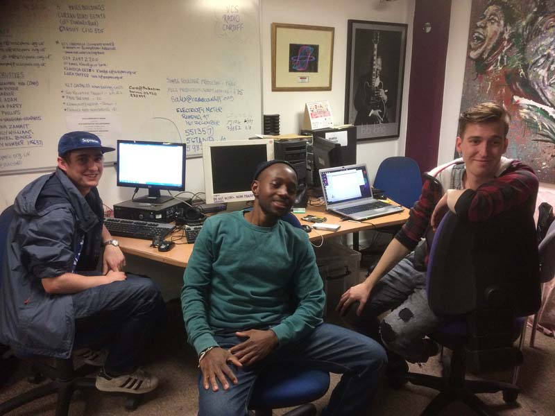 Studio technician Johnny (pictured left) with some of the Radio Cardiff interns who help put some of the stations programmes together.