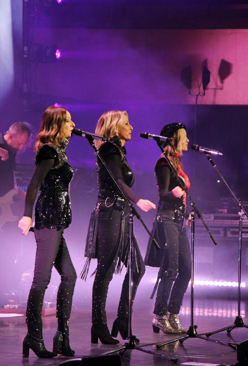 Bananarama, Keren Woodward, Sara Dallin and siobhan Fahey on stage at Cardiff's St David's Hall Picture: Jane Bailey.