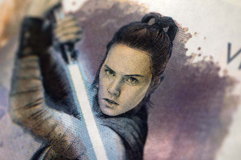 Detail of one of the Star Wars: The Last Jedi official note