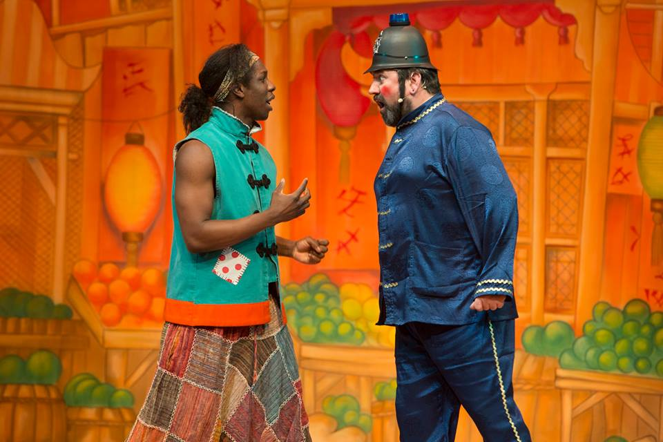 Nickcolia King N'Da and Richard Elis in a scene from Aladdin at Newport Riverfront
