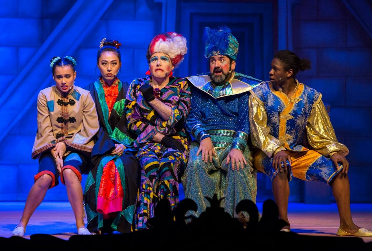 Aishah Numah, Sunny Yeo, Liam Tobin, Richard Elis and Nickcolia King N'Da in Newport Riverfront's 2017 pantomime,  Aladdin