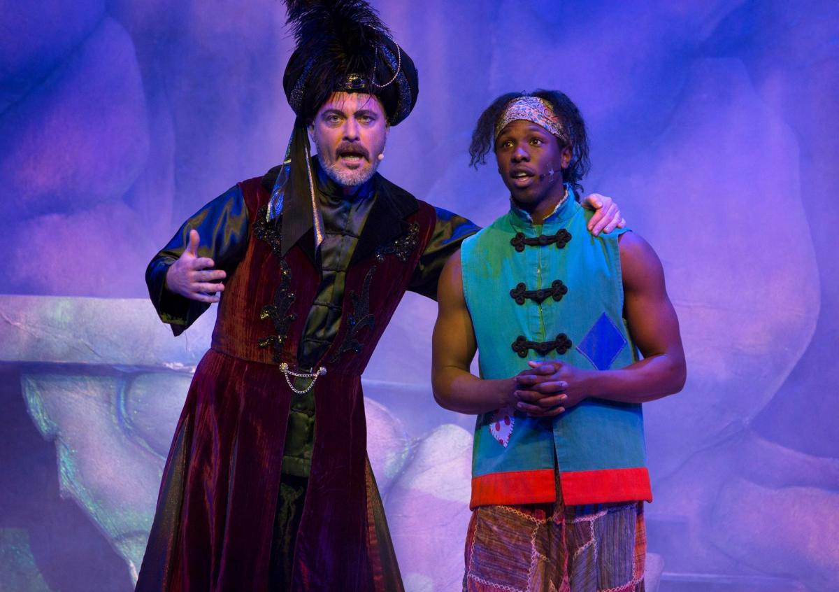 Dafydd Wyn Howells and Nickcolia King N'Da in Aladdin, the Newport Riverfront pantimime for 2017.