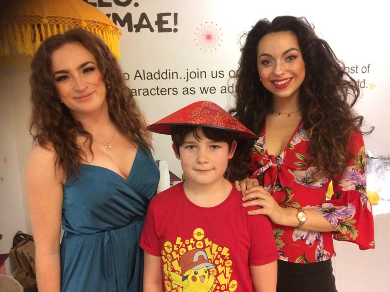 Meeting Sarah Raymond (ensemble) and Jazmin Hudson-Owen (Princess Jasmine) at Newport Riverfront's 2017 pantomime, Aladdin