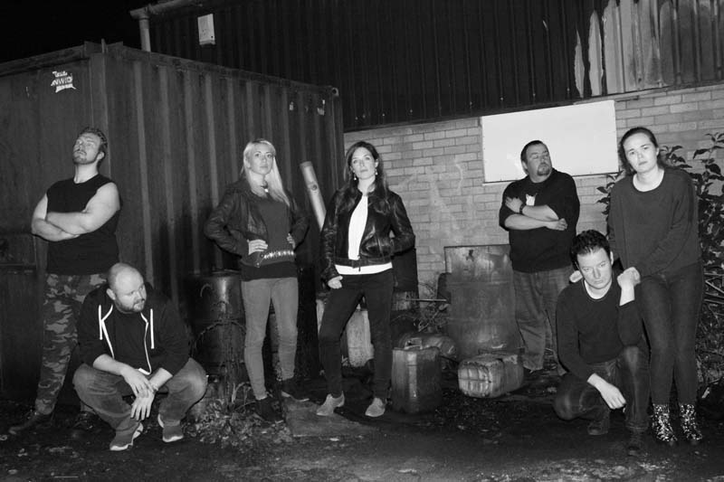 The cast of Dramatic Moose Productions' Abandoned, (Left to Right) Christopher Maxwell, Teddy Smith, Lisa Grace, Sarah Bennington, Terrance Edwards, Ben Wilson and Isabelle Burman