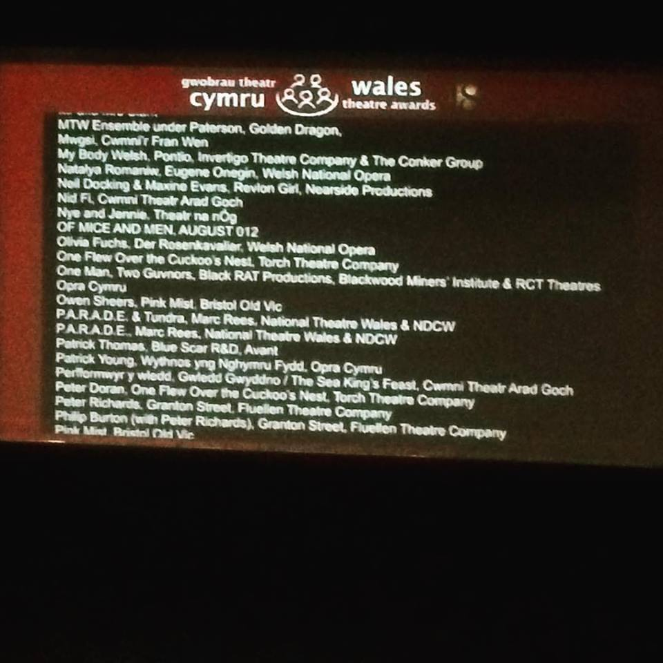 Several nominations for the 2018 Wales Theatre Awards projected on a screen prior to the event at Newport riverfront on Saturday evening.