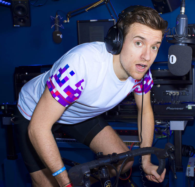 BBC Radio 1 DJ Greg James gets back on the saddle to show he's always ready for Sport Relief. Greg is urging the nation to download the new Sport Relief App and get behind its brand new Billion Steps Challenge to the Great British Public. Photo: Steve Schofield