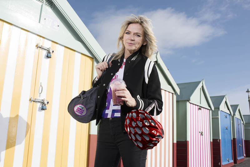 Zoe Ball has her training gear with her in a stroll on Brighton beach to show she's always ready for Sport Relief. She is urging the nation to download the new Sport Relief App and get behind its brand new Billion Steps Challenge to the Great British Public. Photo: Steve Schofield