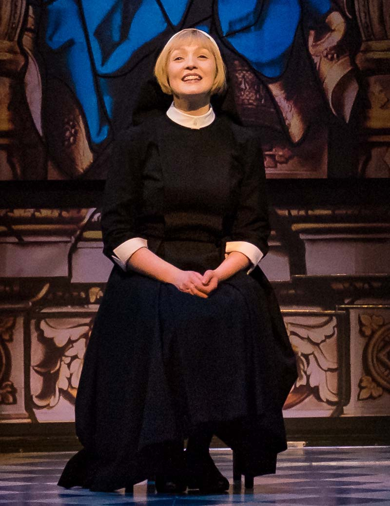 Lucy O'Byrne on stage as Maria in the UK tour of The Sound of Music