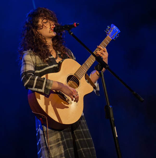 Cardiff singer/songwriter Evie Rowlands performing at the Grand Final of Future Music's National Songwriting Competition 2017