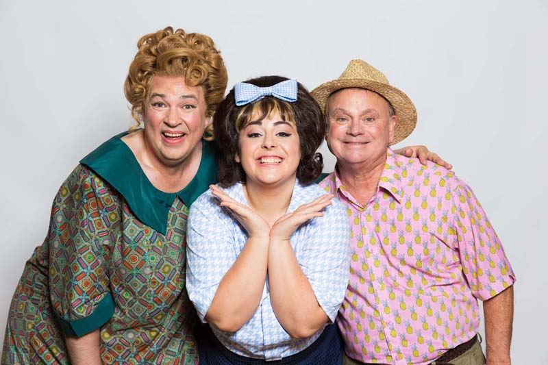 Norman Pace (pictured right) with Rebecca Mendoza and Matt Rixon in the UK Tour of Hairspray.