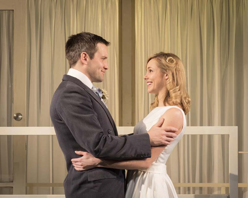 Jack Ashton and Hannah Tointon in Strangers On a Train. which ends its UK tour at cardiff's New Theatre. Photo: Helen Maybanks