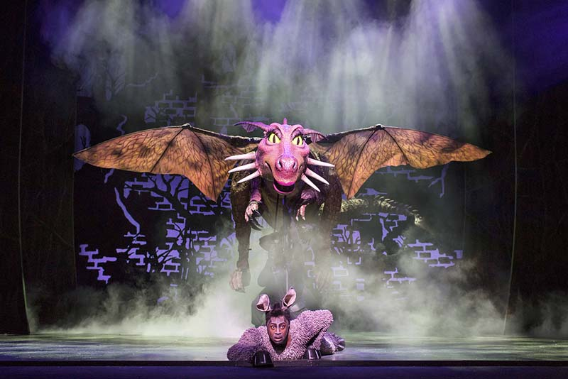 Marcus Ayton as Donkey. in Shrek the Musical. which plays Wales Millennium Centre during April 2018. Picture Credit Helen Maybanks