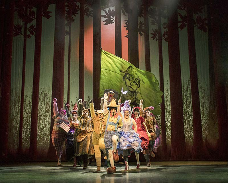 Ensemble cast take to the stage of Shrek the Musical. which plays Wales Millennium Centre during April 2018. Picture Credit Helen Maybanks