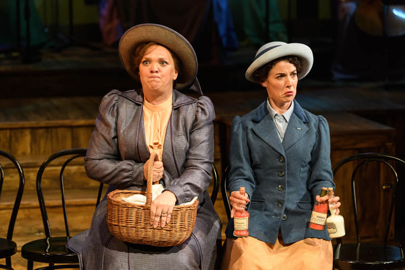 Madeleine Shaw as Lady Rhondda and Paula Greenwood as Prid star in the UK tour of Rhondda Rips it Up which tours Wales and England during Summer 2018. Photo: Jane Hobson..