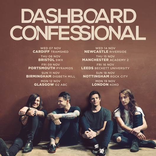 Dashboard Confessional will play the UK during November, 2018