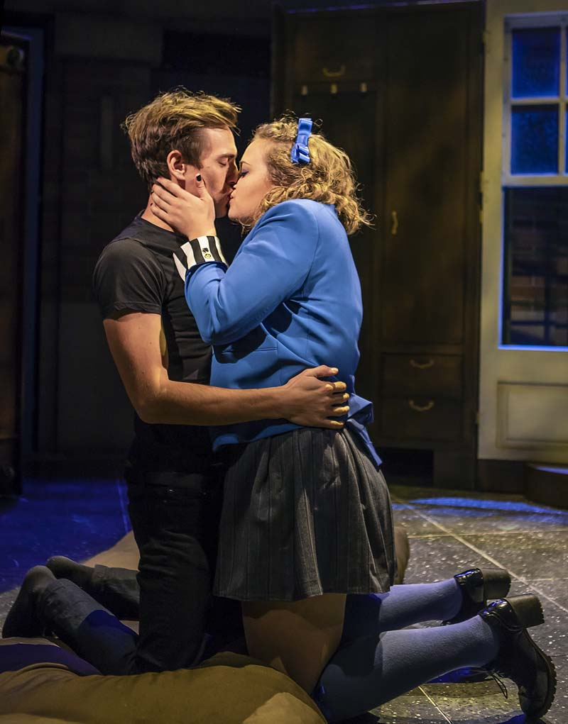 Jamie Muscato (Jason Dean) and Carrie Hope Fletcher (Veronica Sawyer) in  Heathers The Musical  at The Other Palace, London- Pamela Raith Photography