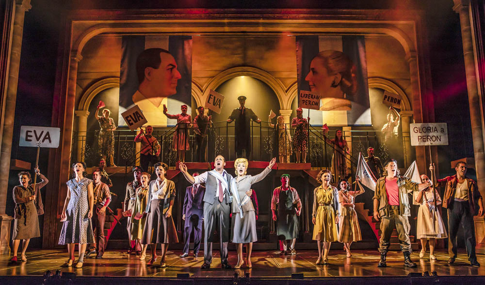 Mike Sterling (Juan Perón), Lucy O'Byrne (Eva Perón) and the cast of Evita UK Tour which plays Wales Millennium Centre until September 8, 2018 Photo (c) Pamela Raith