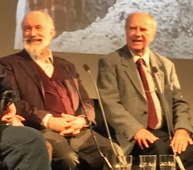 Actor, Simon Jones and producer Alan JW Bell taking part in a Q&A at  The Hitchhikers Guide To The Galaxy  Blu-Ray Launch event at the BFI, London. Photo: Andy Howells