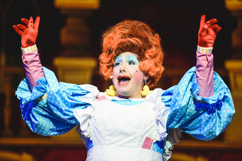 Liam Tobin as Mrs Midges in the Newport Riverfront pantomime, Sleeping Beauty which runs until January 6, 2019. Photo: Kirsten McTernan