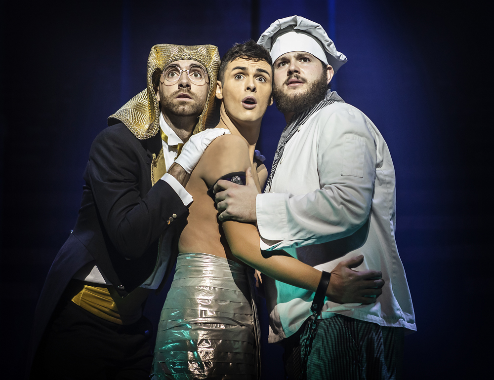Lewis Asquith (Butler), Jaymi Hensley (Joseph) & Ed Tunningley (Baker) in Joseph & The Amazing Technicolor Dreamcoat , UK Tour Picture:  Pamela Raith Photography