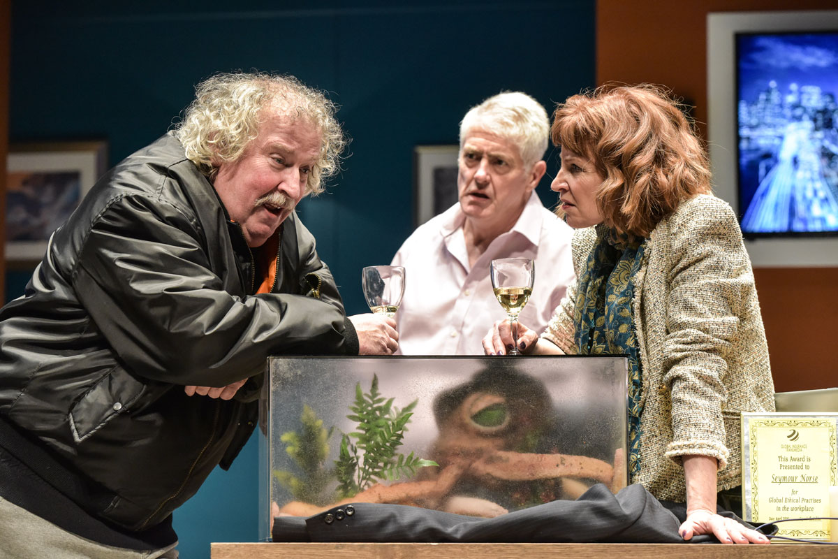 Paul Bradley, Nick Hancock and Carolyn Backhouse in the comedy farce, Octopus Soup! which runs at Cardiff's New Theatre until April 13, 2019.