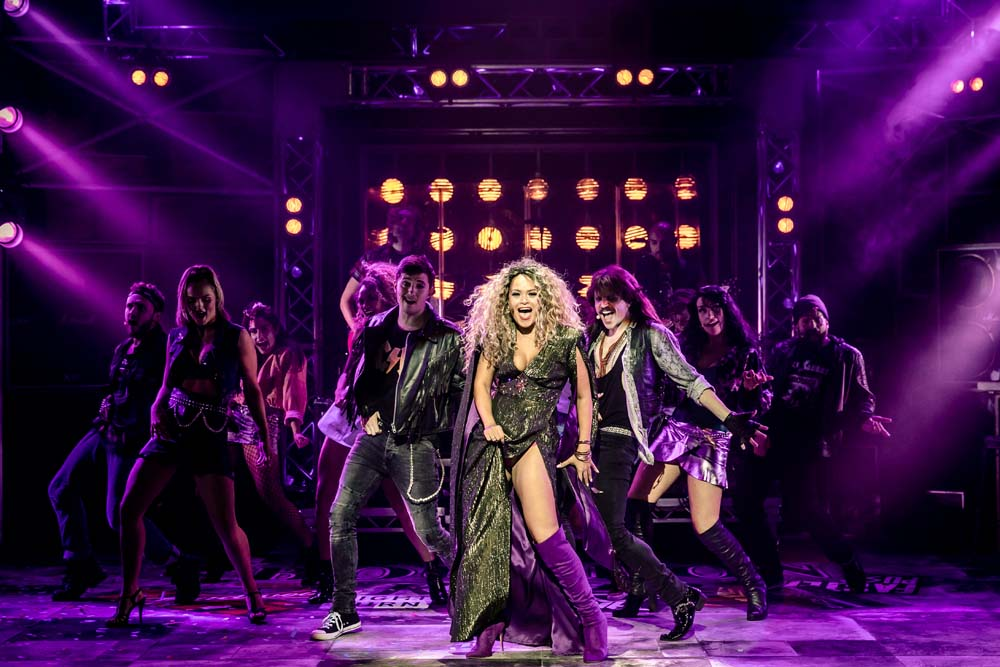 Zoe Birkett as 'Justice' with the  Rock of Ages  Company. The show plays Bristol Hippodrome until Saturday 20th April 2019. Photo Richard Davenport