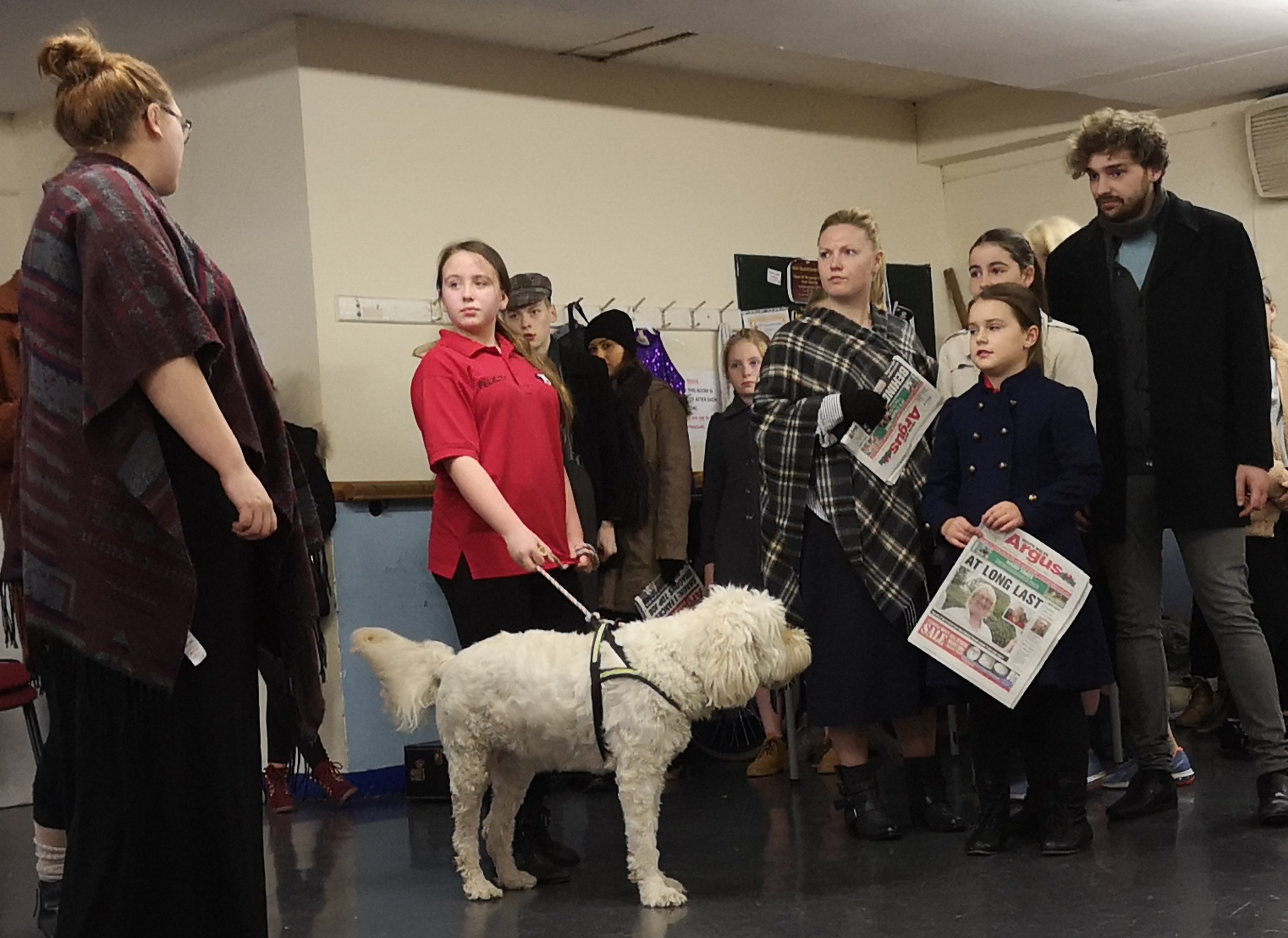 Centrestage Cymru cast members in rehearsals for Centrestage Cymru's forthcoming presentation of Annie which comes to Newport's Dolman Theatre from May 1-4, 2019. Photo: Rachel Howells.