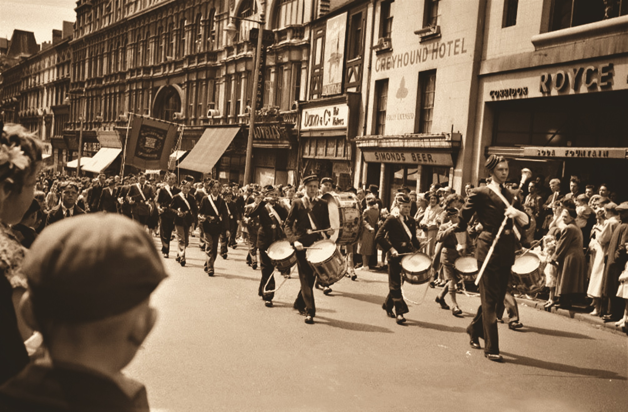 A nostalgic scene of The Boys Brigade marching along Newport's High Street as featured in Now That's What I Call Newport, published by Amberley.