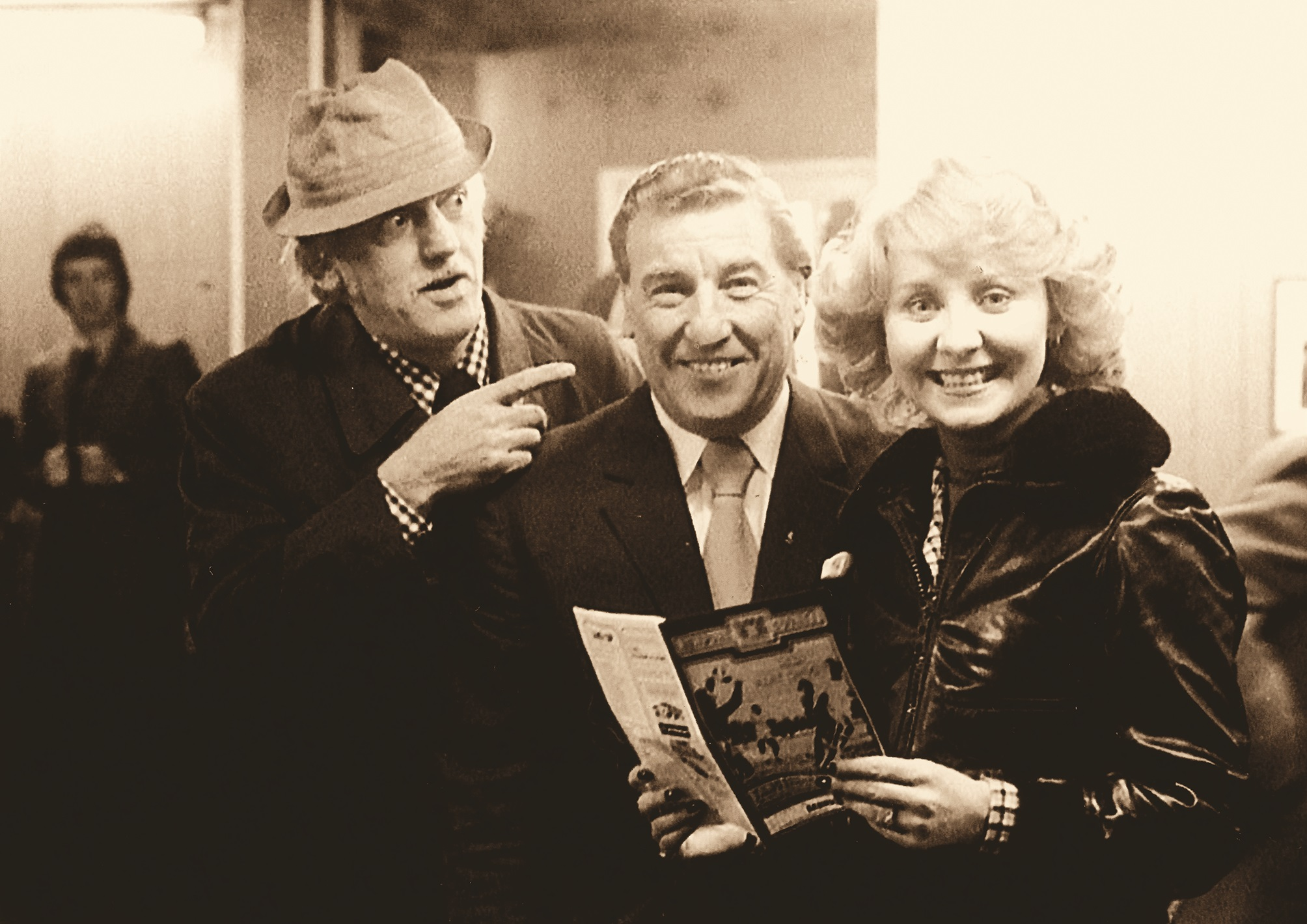 Showbusiness stars Lulu and Stan Stennett join Newport County AFC chairman Cyril Rodgers for a half-time photo opportunity in the 1970s from Jan Preece's book,  Now That's What I Call Newport , published by Amberley.