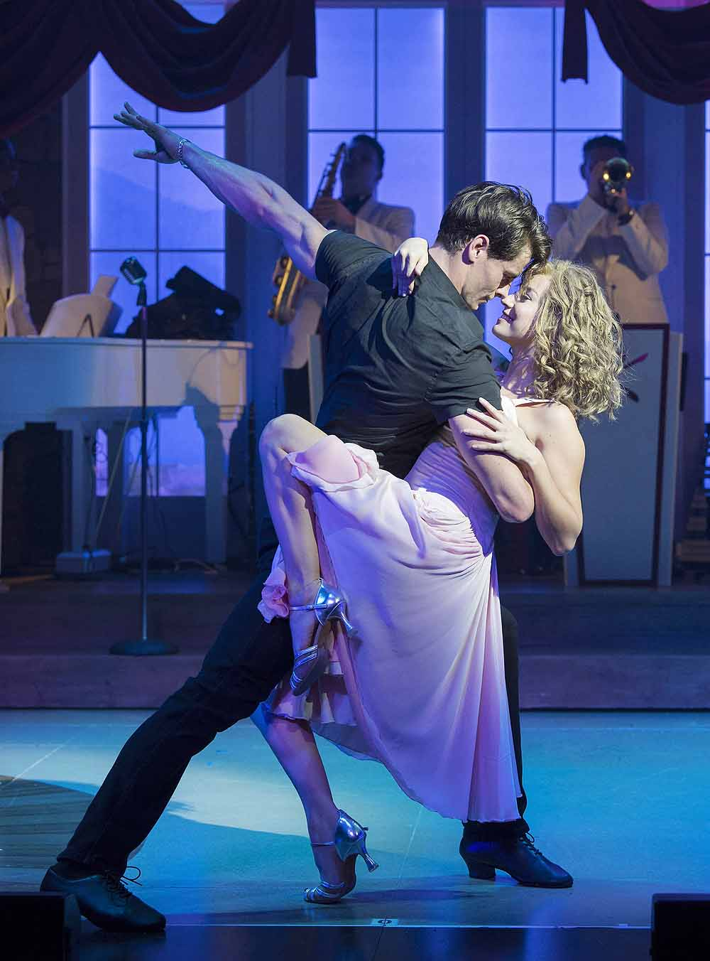 Kira Malou (Baby) Michael O'Reilly (Johnny); in Dirty Dancing - The Classic Story on Stage. Photo credit Alastair Muir