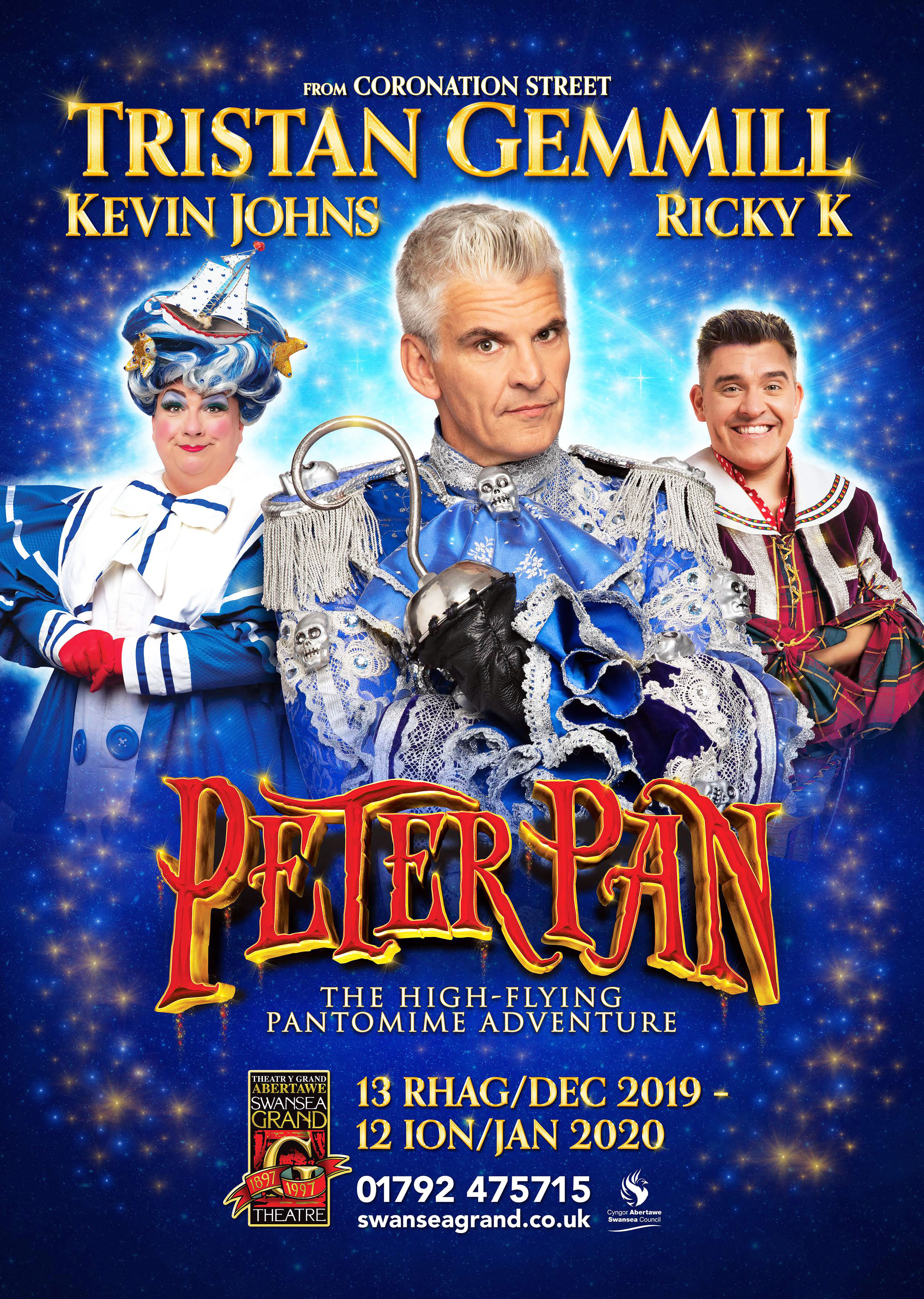Tristan Gemmill Stars In Peter Pan at Swansea Grand from Friday 13 December 2019 to Sunday 12 January 2020.