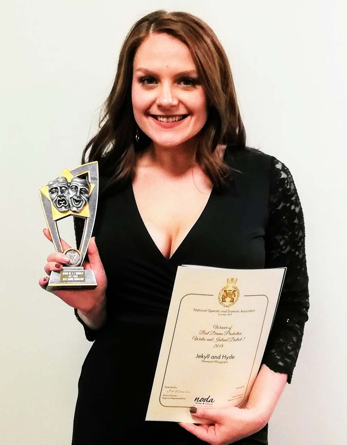 As well as appearing in the Best Drama Production, Liz Keech also received a nomination for Best Supporting Individual Performance in Newport Playgoers'  Dr Jekyll and Mr Hyde .