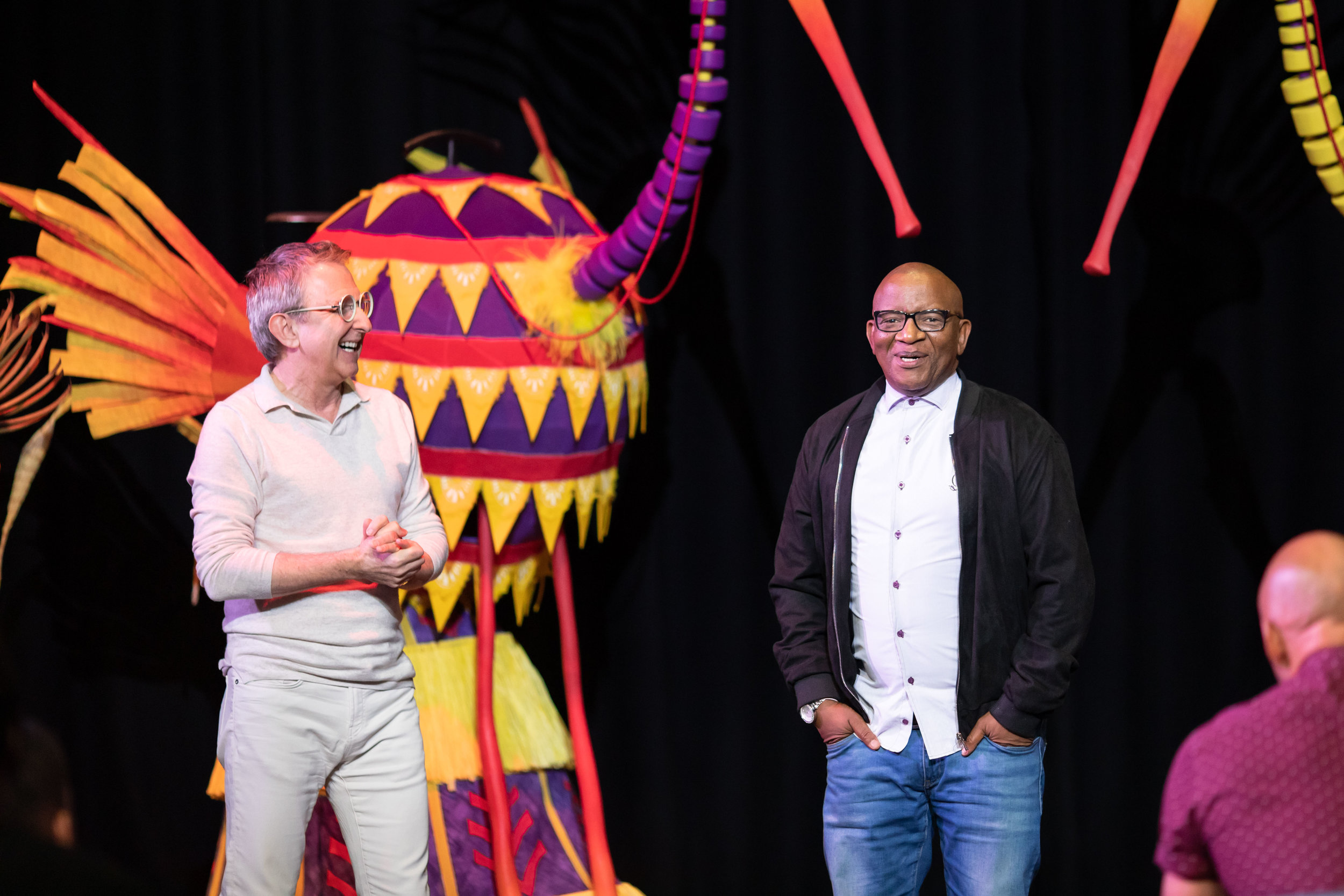 Thomas Schumacher and Lebo M at the first day of rehearsals for Disney's The Lion King UK tour. The Lion King comes to Bristol Hippodrome from September 7 until November 23, 2019. Credit Helen Maybanks ®Disney