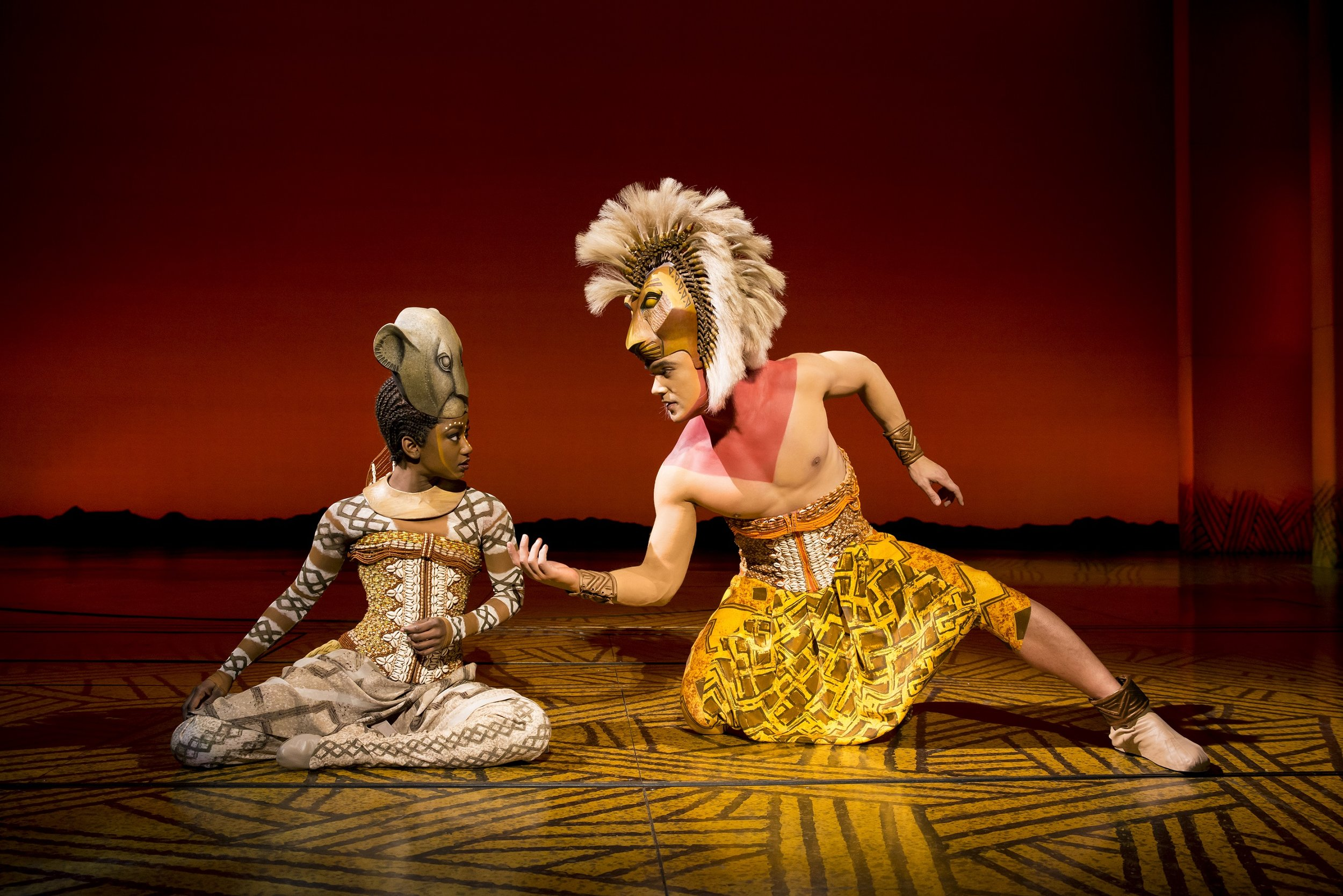 Nick Afoa as Simba and Janique Charles as Nala in the 2017 stage presentation of The Lion King. The latest tour of the show comes to Bristol Hippodrome from September 7 until November 23, 2019.Photo: ®Disney