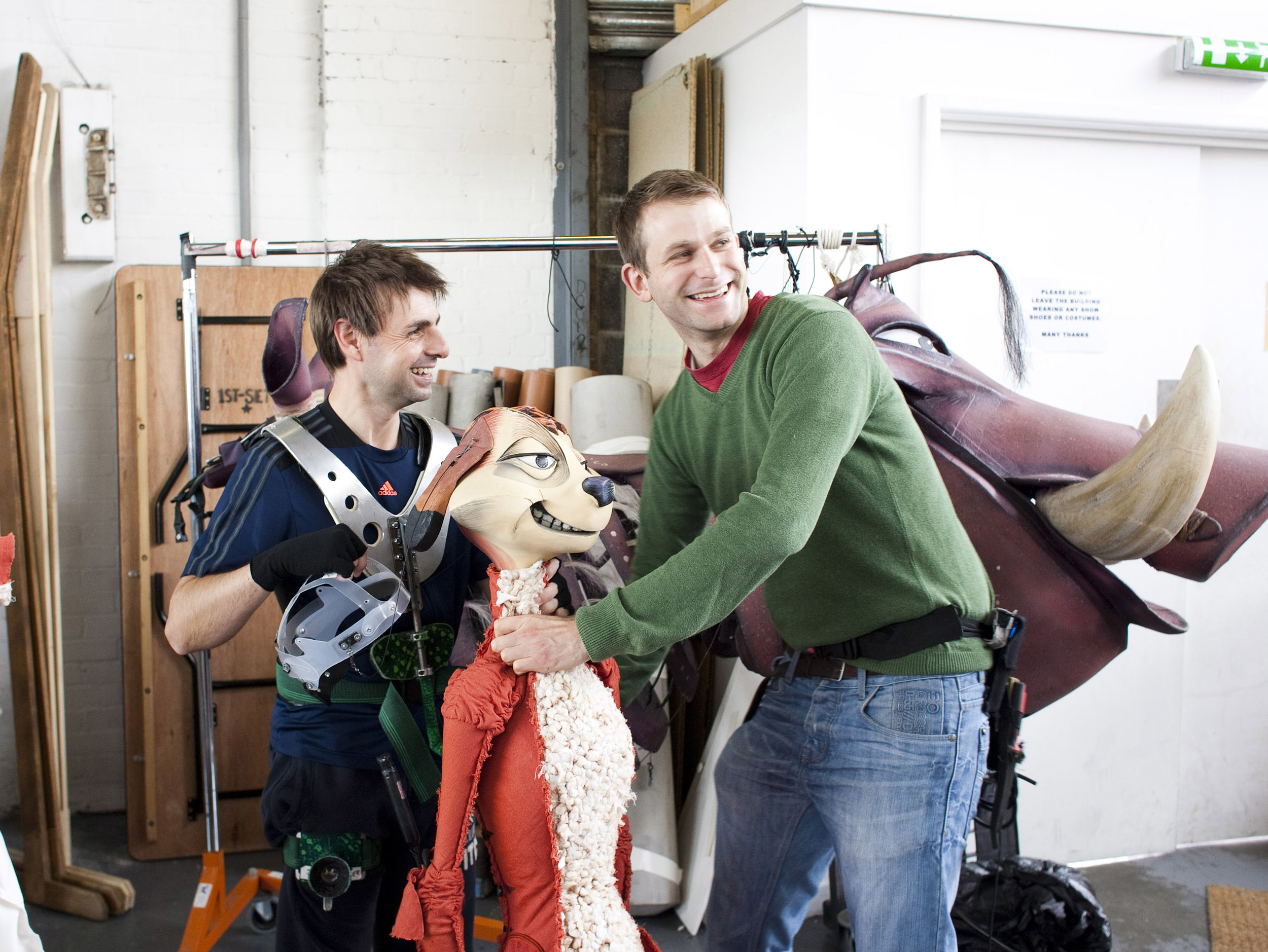 Will Pearce pictured with John Hasler as Timon during the 2014 UK Tour of Disney's  The Lion King