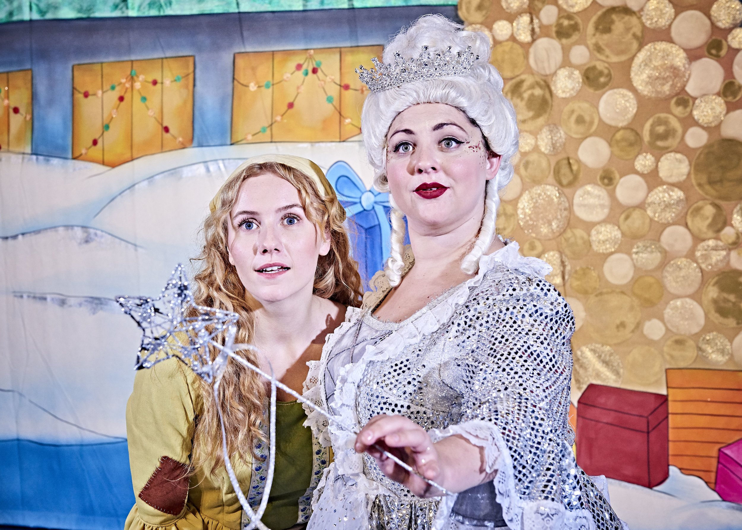 Laura Meaton as Cinderella and Rachel Waring as Fairy Godmother in Cinderella which plays Newport's Riverfront Theatre from November 28 to December 31, 2019.