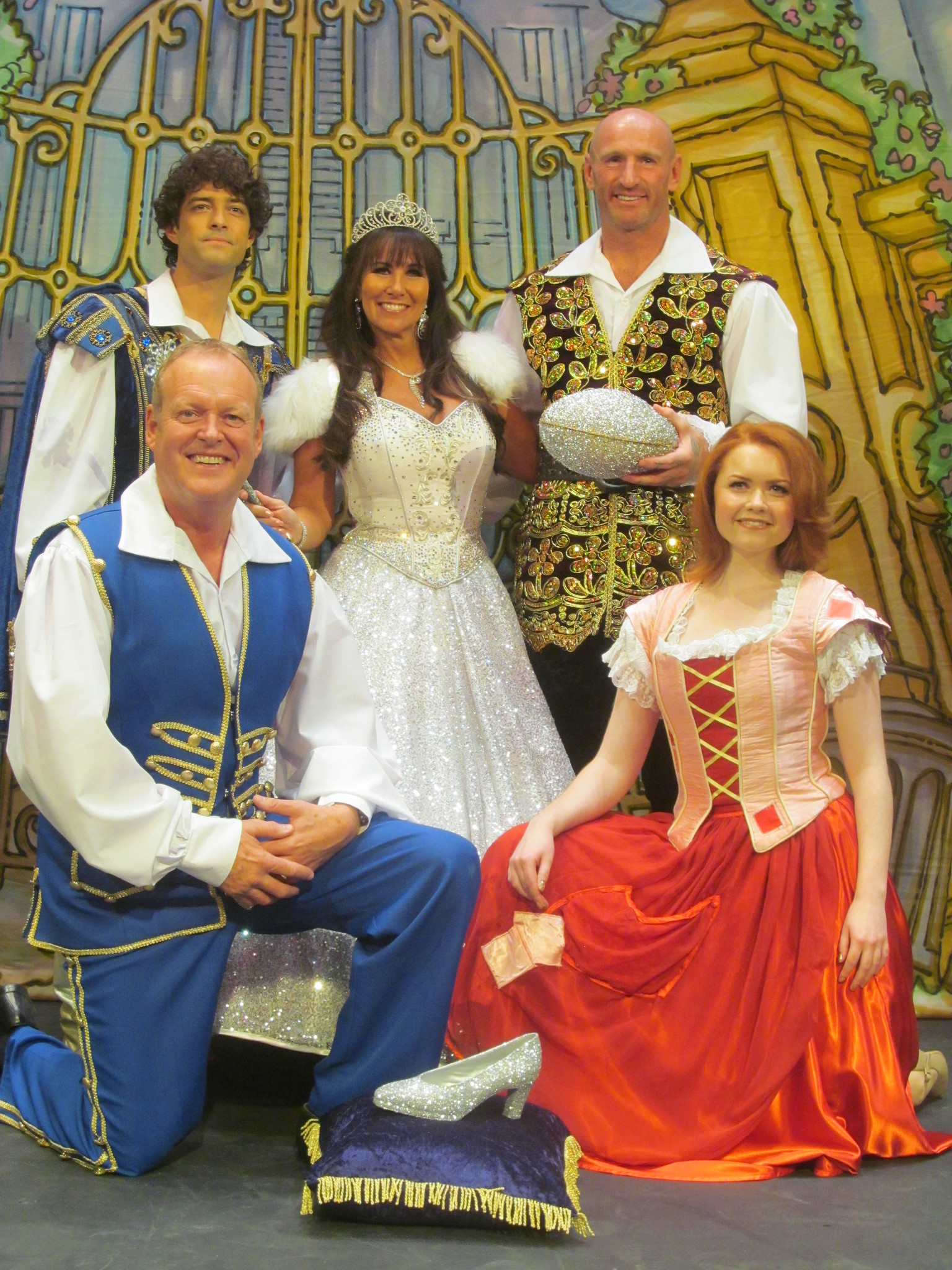 Cinderella cast members, Lee Mead, Linda Lusardi, Gareth Thomas, Andy Jones and Holly Bluett. Photo: Andy Howells
