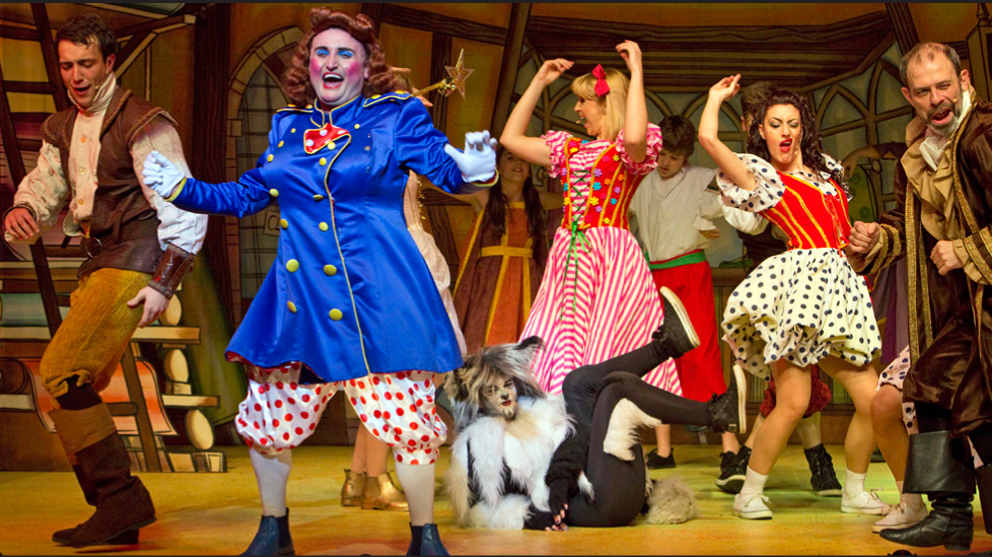 Emma in action on the Newport Riverfront stage with the cast of Dick Whittington.
