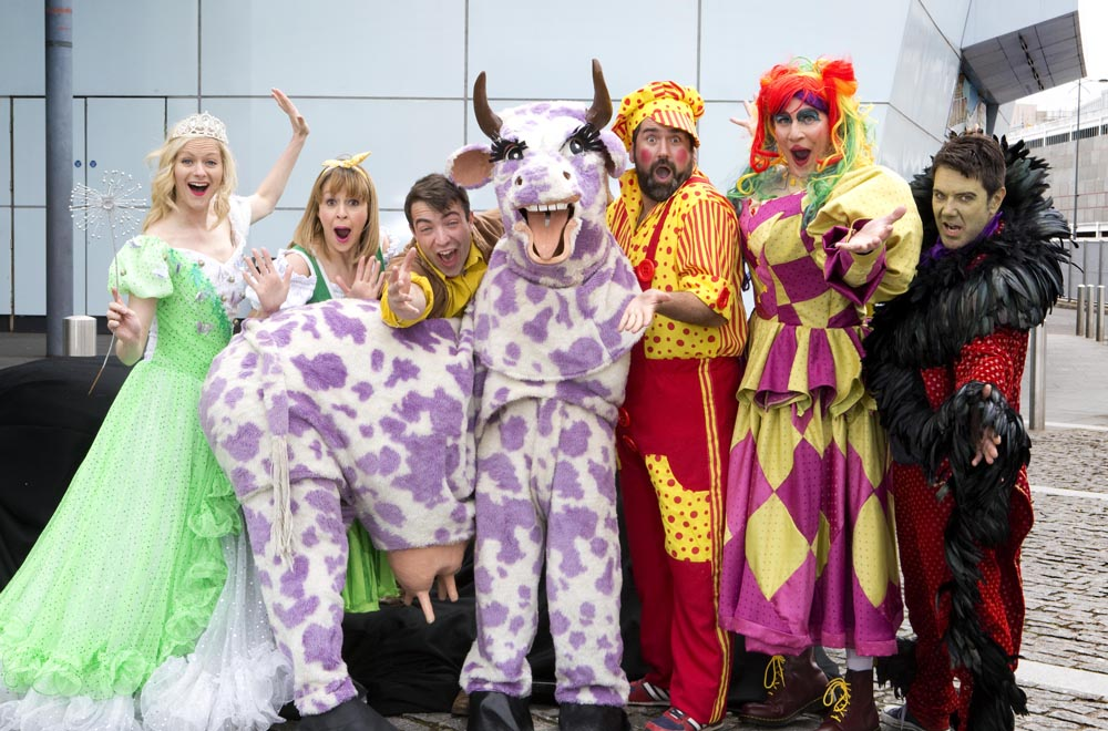 The cast for Newport Riverfront's 2015 pantomime, Jack and The Beanstalk.