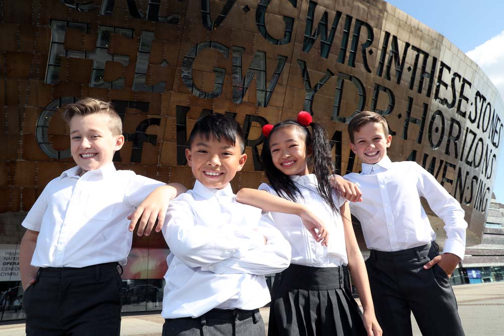 Oliver Davies, Greg Lovitos, Ava Grace Choung and Danny Phillips will star in Nativity! The Musical at Wales Millennium Centre from 19 - 23 November 2019 Credit Michael Hall.