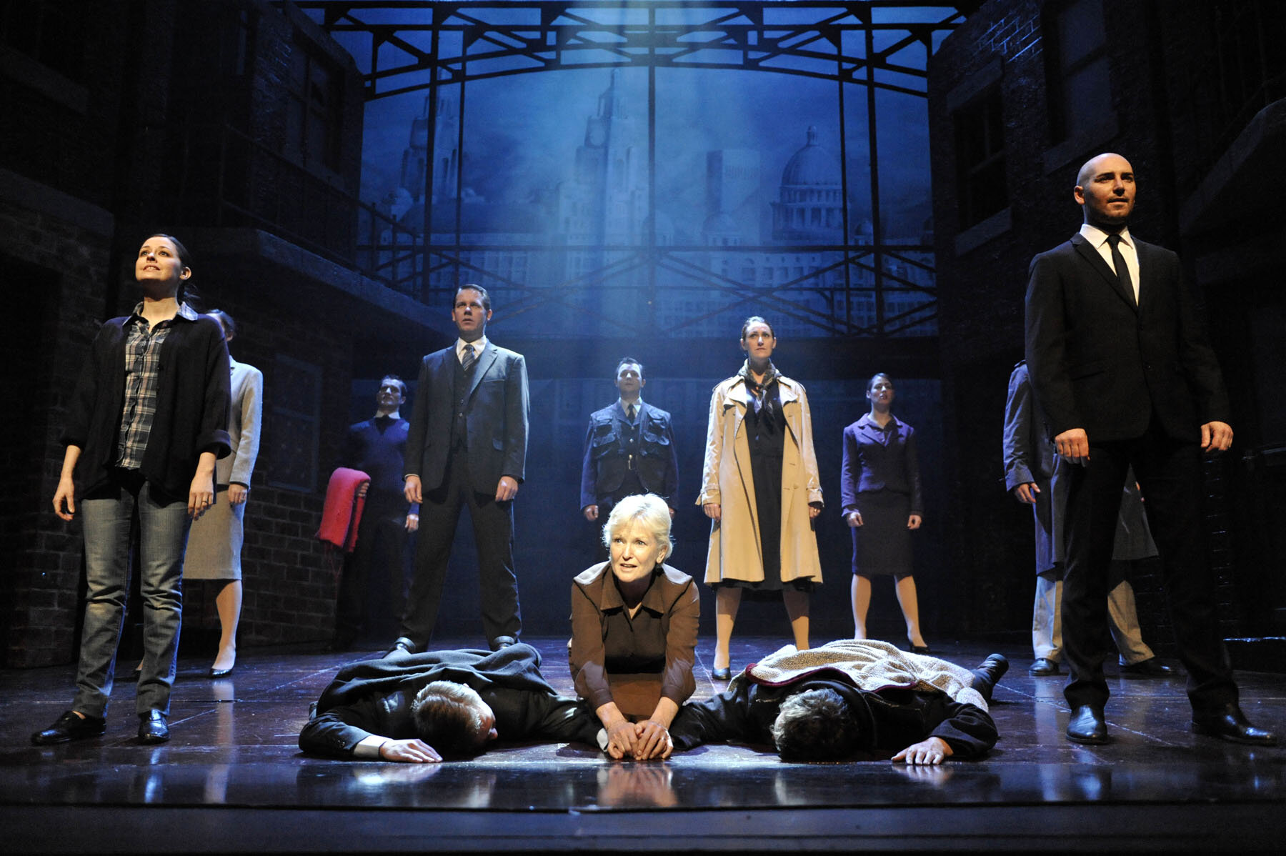 Lyn Paul and the ensemble cast in  Blood Brothers  which continues its run at Cardiff's New Theatre until September 28, 2019.