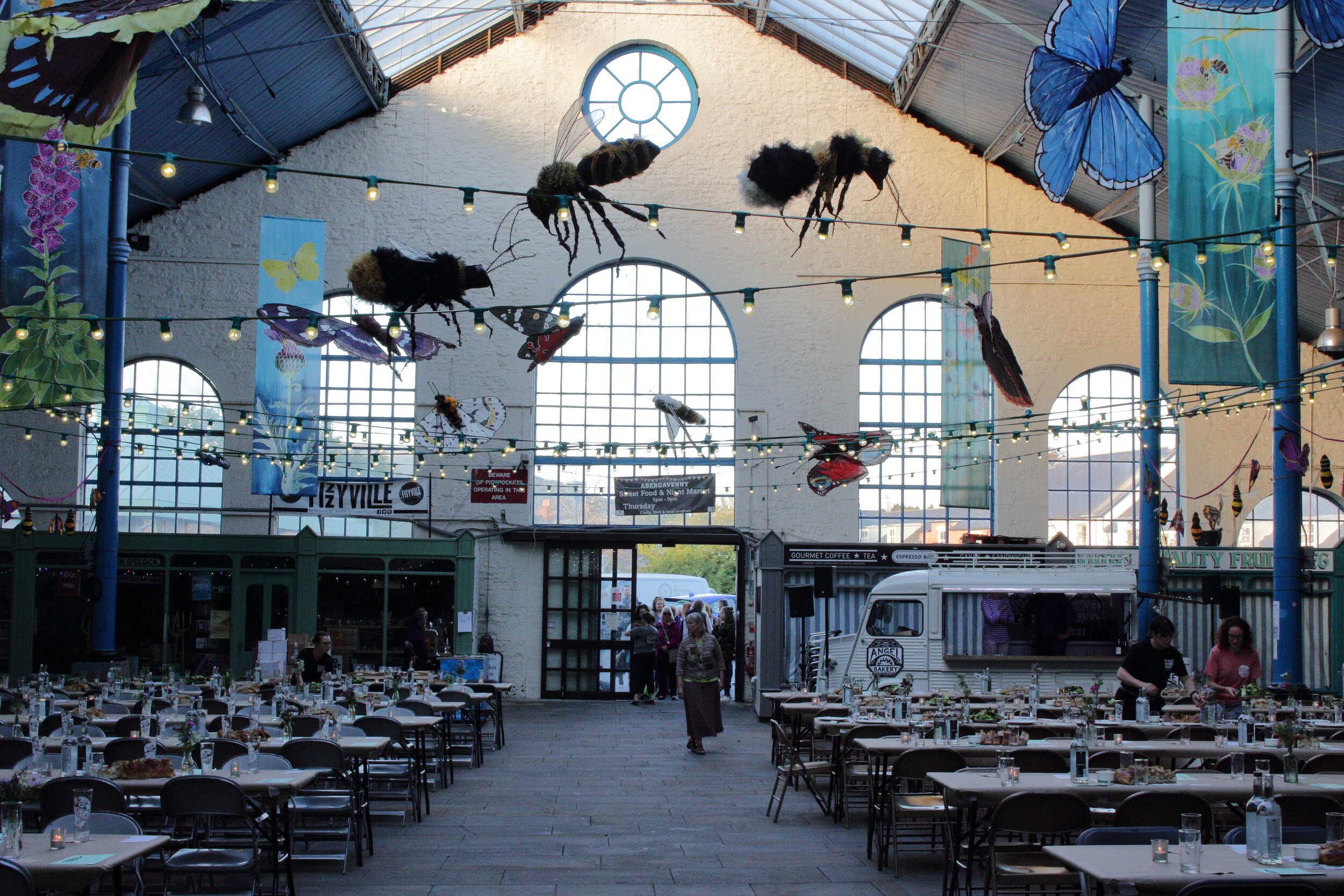 Bettina Reeves Installation at Abergavenny Market Hall  Picture: Credit Henry Wheatley /Abergavenny Food Festival