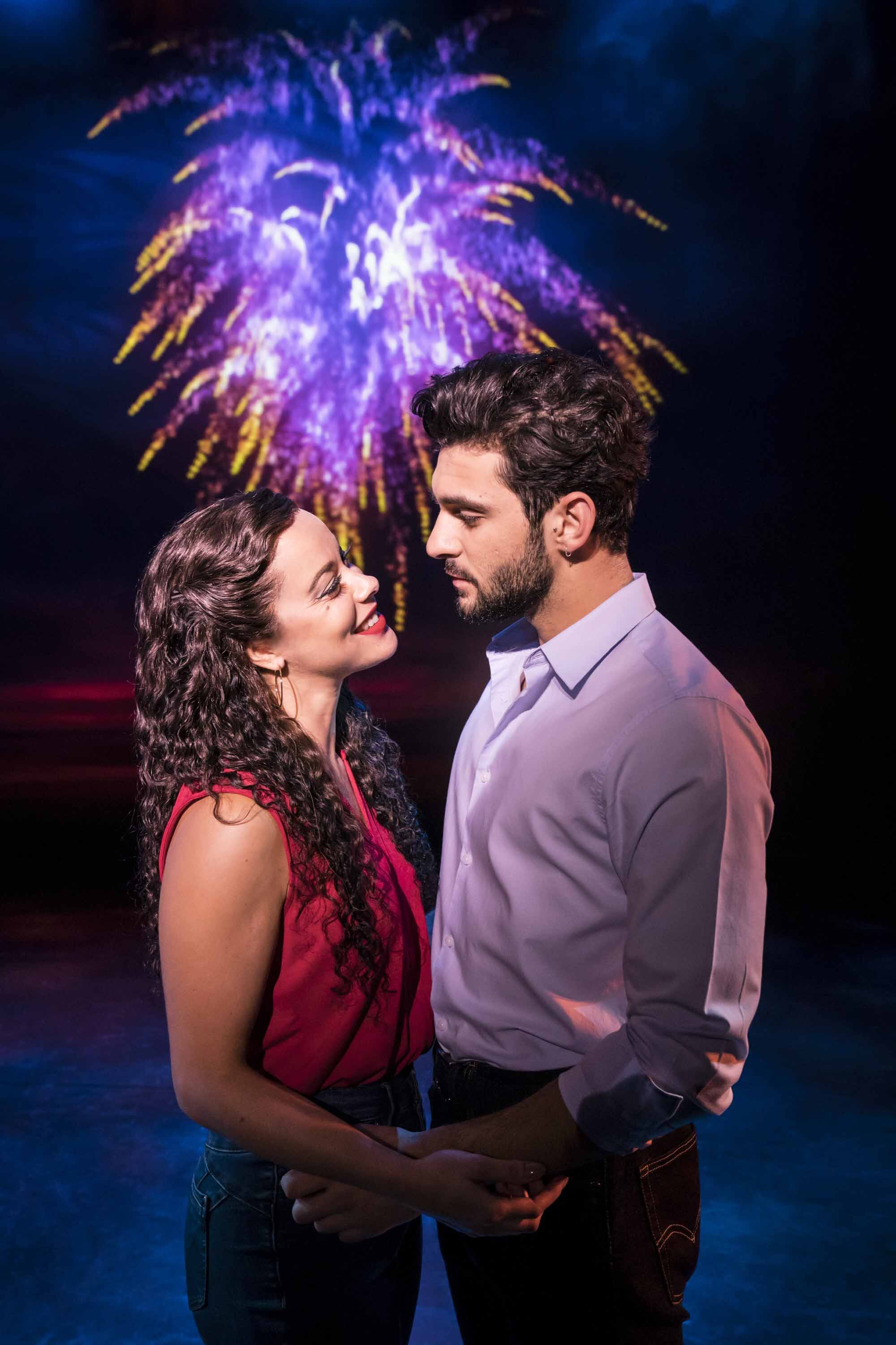 Philippa Stefani 'Gloria Estefan' and George Ioannadis 'Emilio Estefan' in  On Your Feet!  which runs at Wales Millennium Centre from 21-26 October 2019. For ticket details visit www.wmc.org.uk Photo Johan Persson
