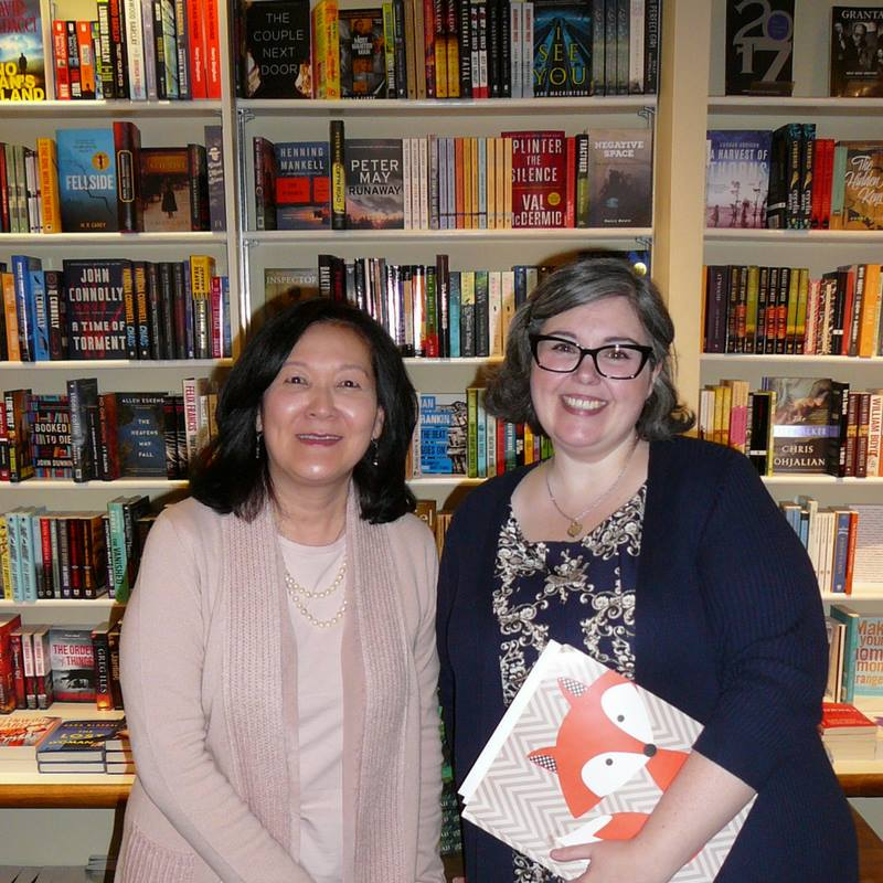 Janie Chang with Rhonda Dynes at A Different Drummer Books.