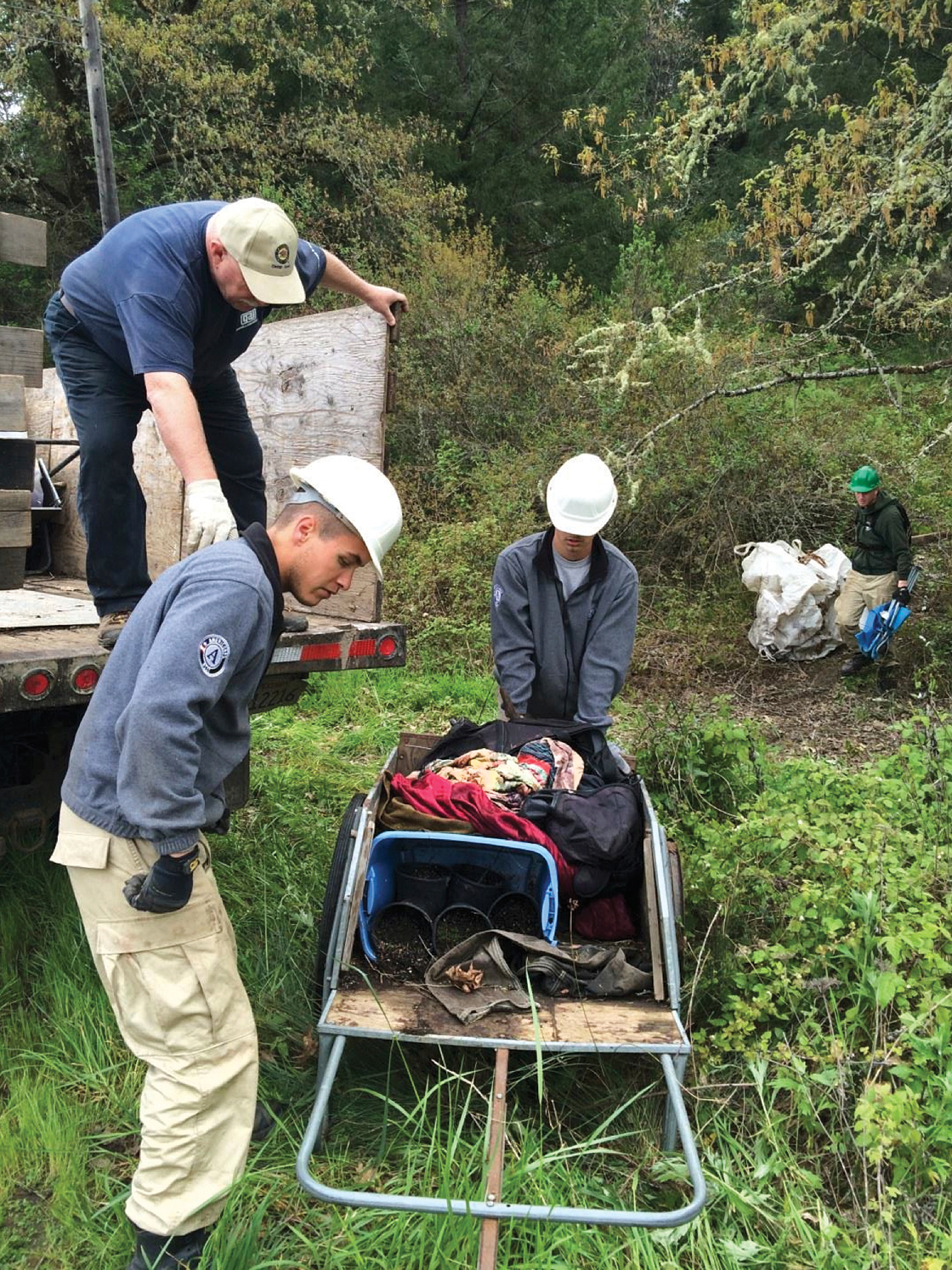 Workers hauled out more than 14,000 pounds of trash from illegal camps in the northern area of John B. Dewitt Redwoods State Natural Reserve near Redway in late March. (Courtesy of Christopher Glenn)