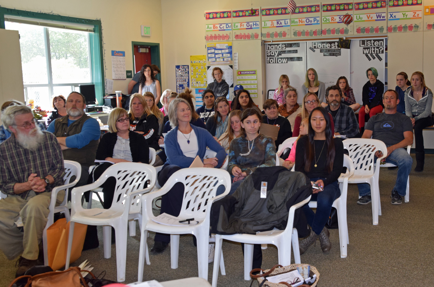 Southern Humboldt Unified School District's April 14 board meeting was well attended due to several controversial layoffs. (Photo by Sandy Feretto)