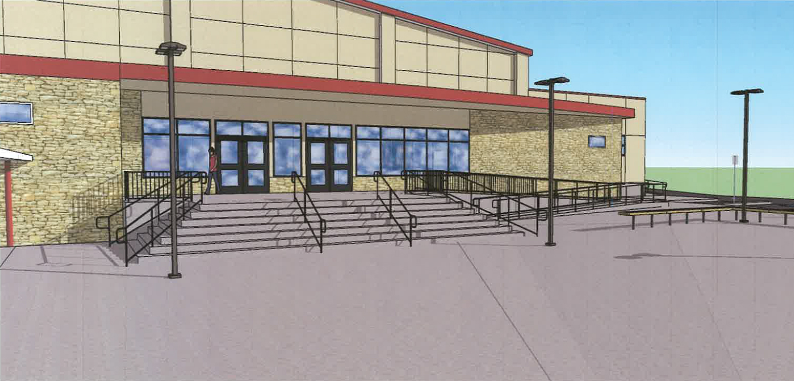An architect's rendering shows the front of South Fork High School's planned new gymnasium. (Siskiyou Design Group)