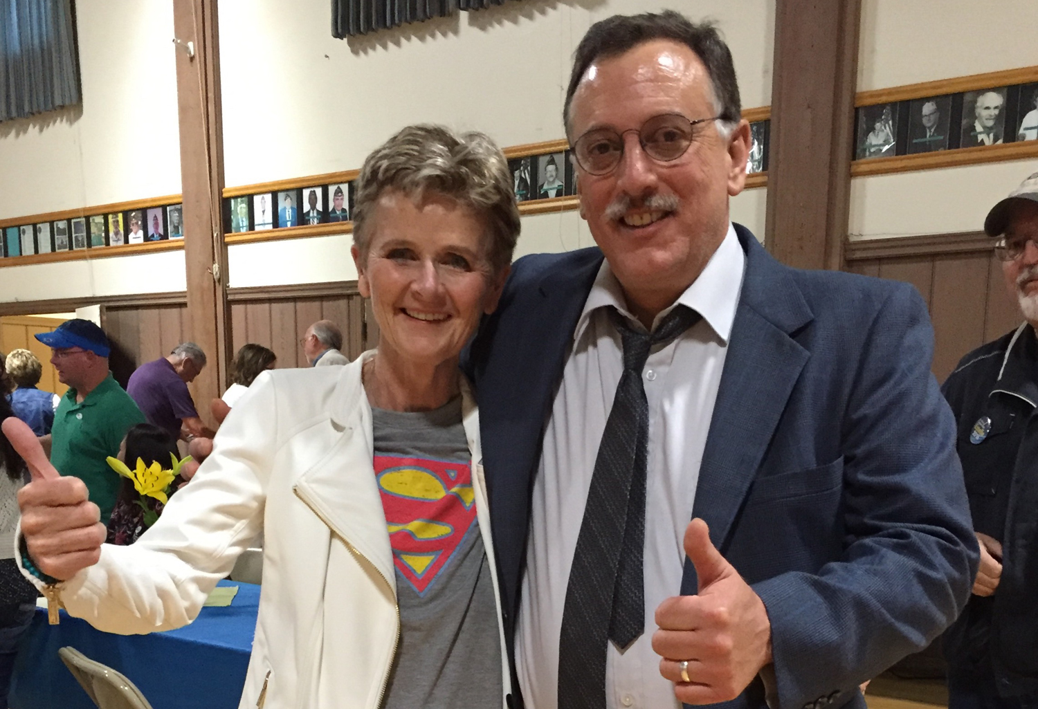 Supervisor Estelle Fennell, shown with supporter Nick Angeloff, celebrated election night at the Fortuna Veterans Memorial Building. (Photo courtesy of Estelle Fennell)