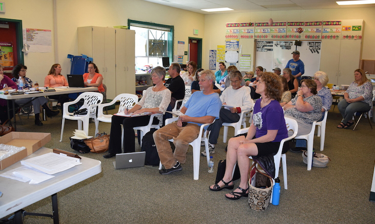 Parents, teachers and staff turned out for the June 9 SHUSD board meeting. (Sandy Feretto)